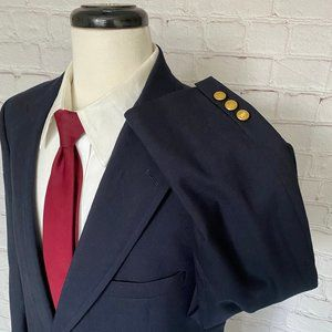 Brooks Brothers Navy Blue Wool Gold Button Blazer